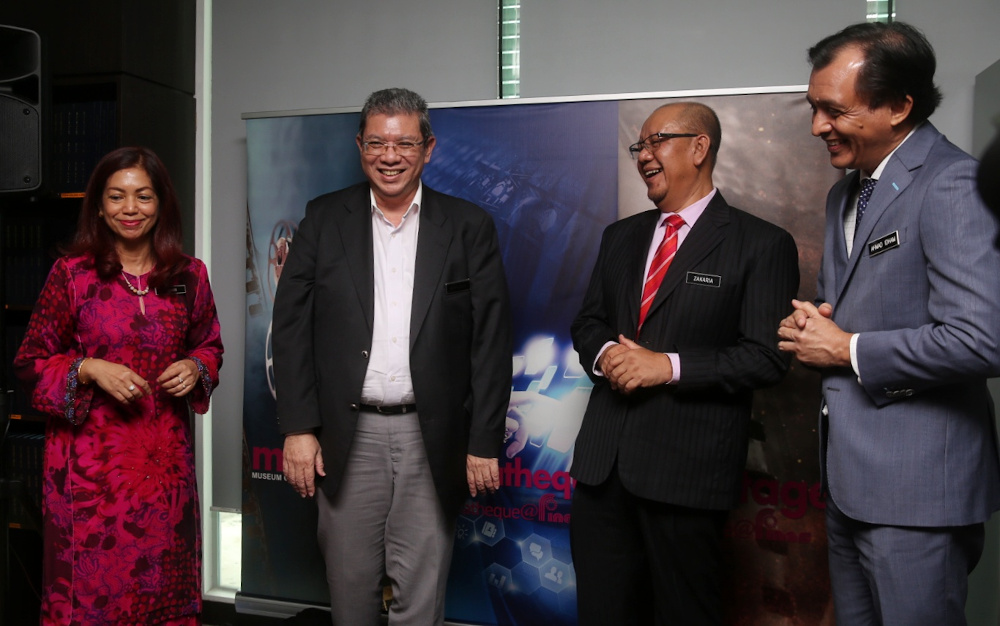 (From left) Communications and Multimedia Ministry secretary-general Datuk Suriani Ahmad, Communications and Multimedia Minister Datuk Saifuddin Abdullah, Finas chairman Zakaria Abdul Hamid and Finas CEO Ahmad Idham Ahmad Nadzri at the Finas press conference in Petaling Jaya June 16, 2020. — Picture by Choo Choy May