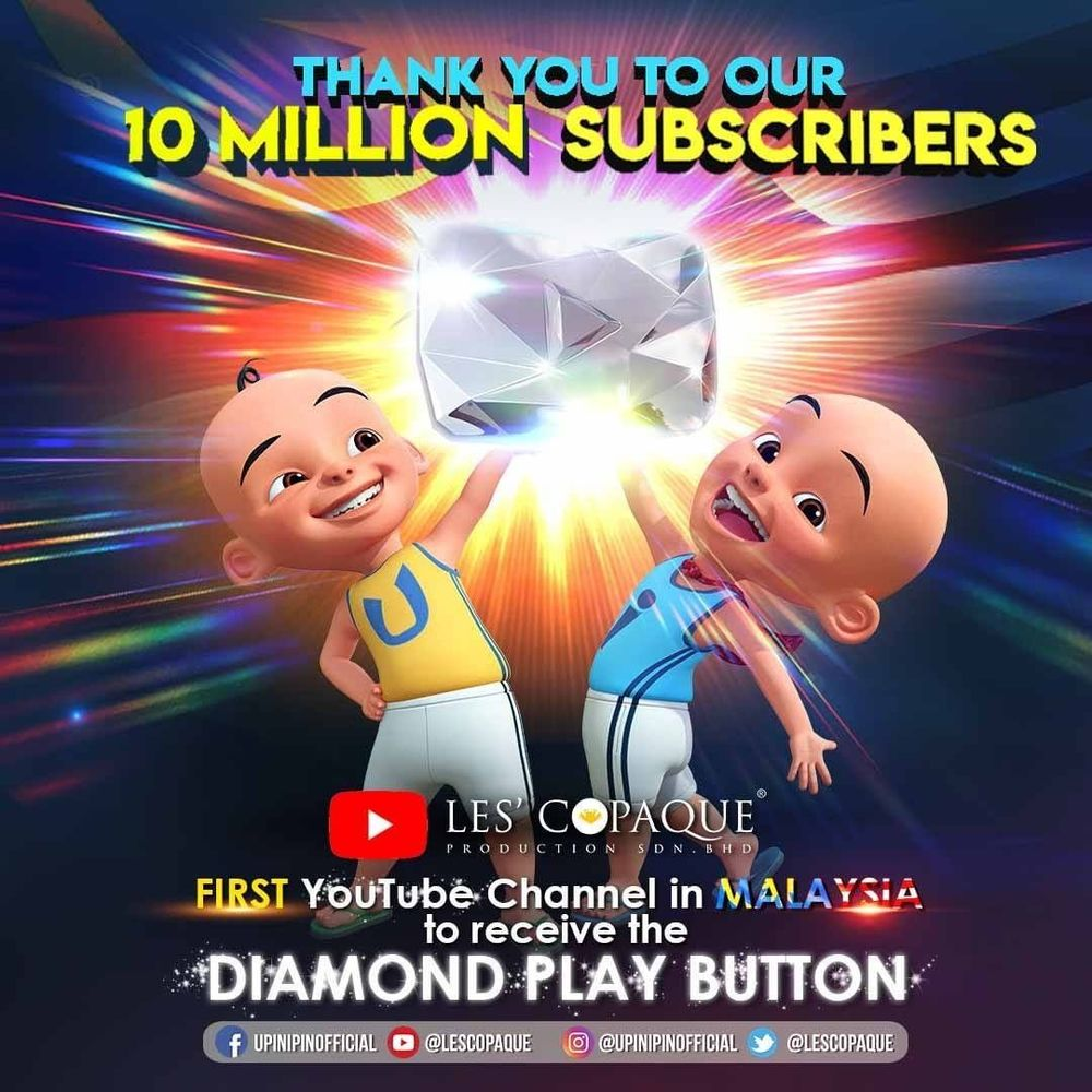 The Shah Alam-based animation studio was awarded the YouTube Diamond Play Button. — Picture from Instagram/Les' Copaque