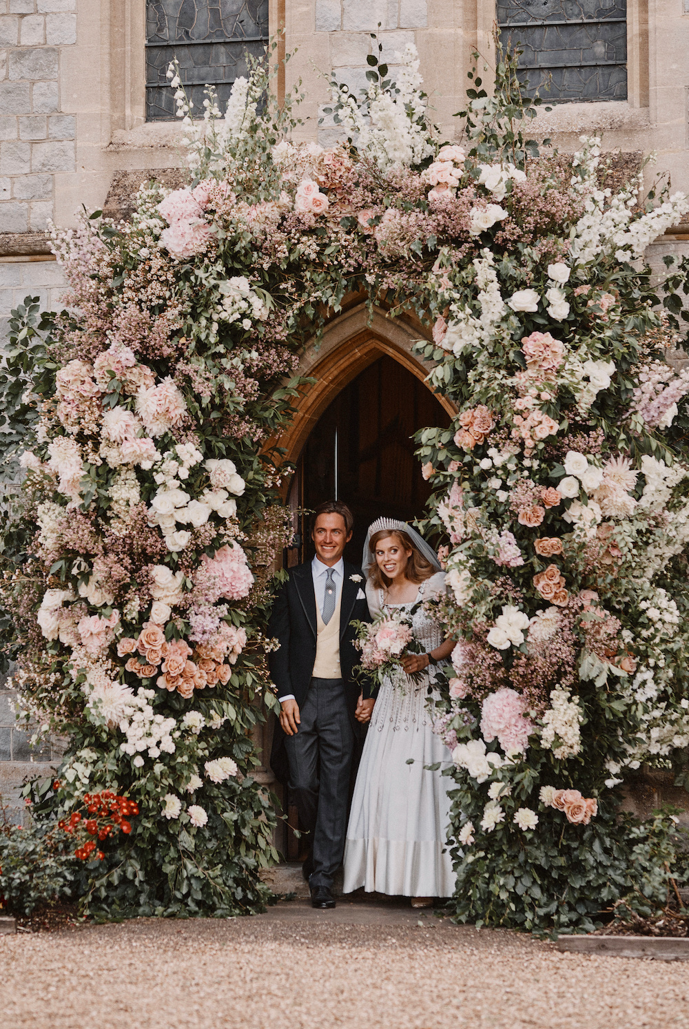 Britain's Princess Beatrice and Edoardo Mapelli Mozzi leave The Royal Chapel of All Saints at Royal Lodge after their wedding, in Windsor, in this official wedding photograph released by the Royal Communications on July 18, 2020. — Benjamin Wheeler/Pool