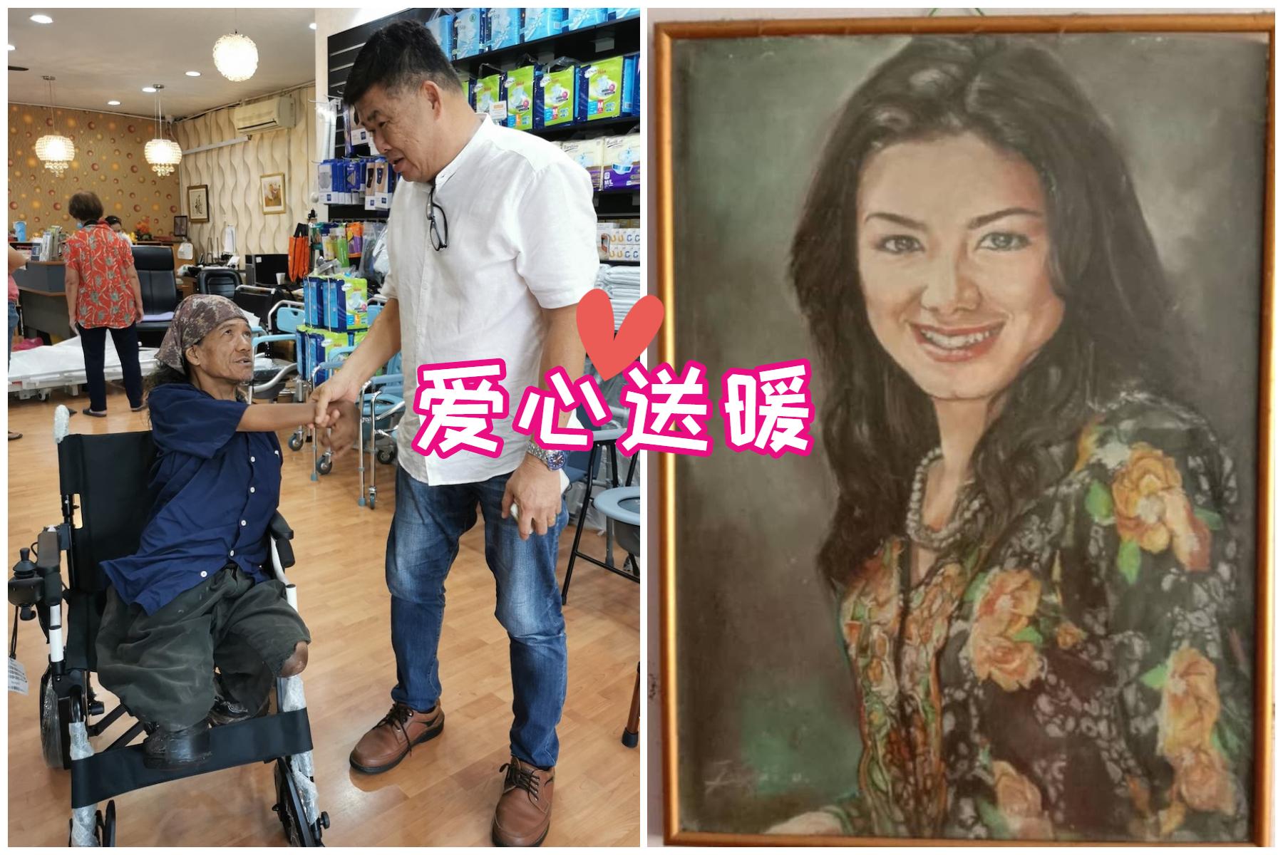 在关志庭将轮椅移交给素描艺术家达乌时,两人忍不住失控痛哭。-摘自Ambulance Uncle Kentang脸书/精彩大马制图-