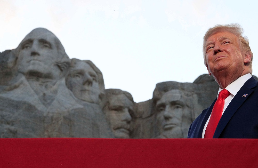 US President Donald Trump is seen in front of Mt. Rushmore as he attends South Dakota's US Independence Day Mount Rushmore fireworks celebrations in Keystone, South Dakota July 3, 2020. — Reuters
