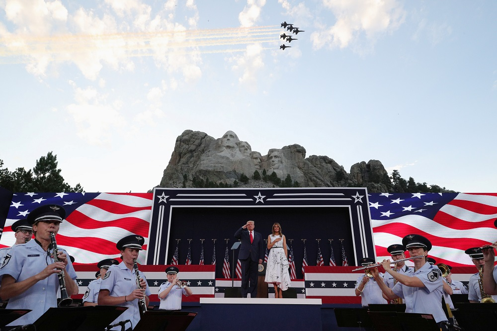 An aerial flypast takes place as US President Donald Trump and first lady Melania Trump attend South Dakota's US Independence Day Mount Rushmore fireworks celebrations at Mt. Rushmore July 3, 2020. — Reuters pic