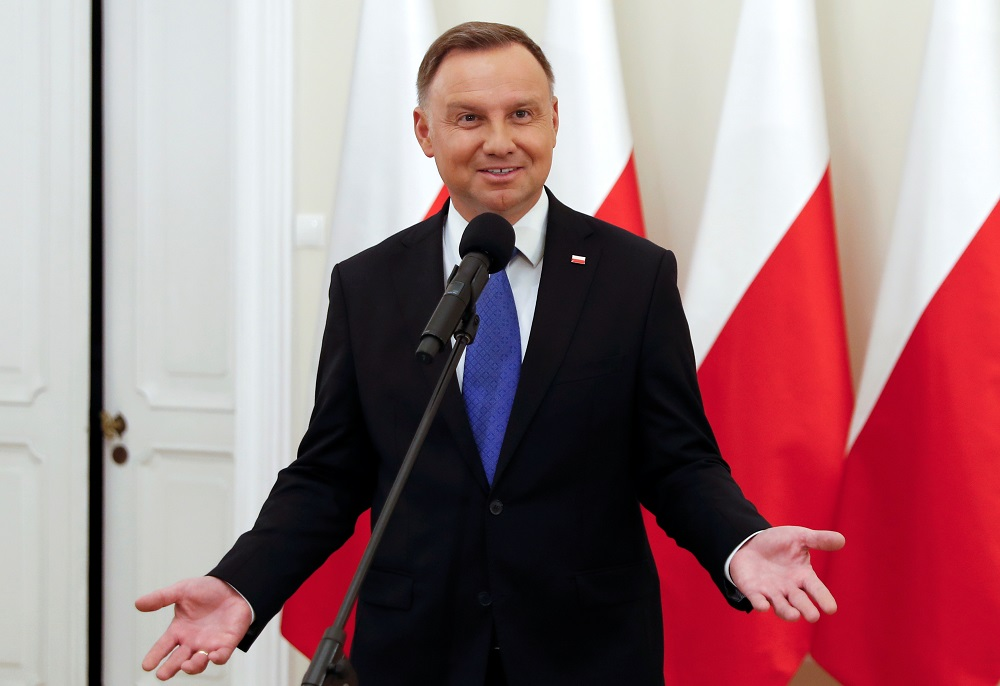 Polish President Andrzej Duda has tested positive for Covid-19. — Reuters pic