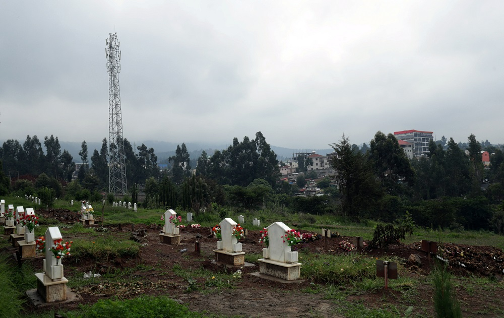 Freshly covered graves are seen within older tombstones at the Protestant and Catholic cemetery, open for burials amid the spread of the coronavirus disease, in Wingate, North of Addis Ababa, Ethiopia June 29, 2020. — Reuters pic