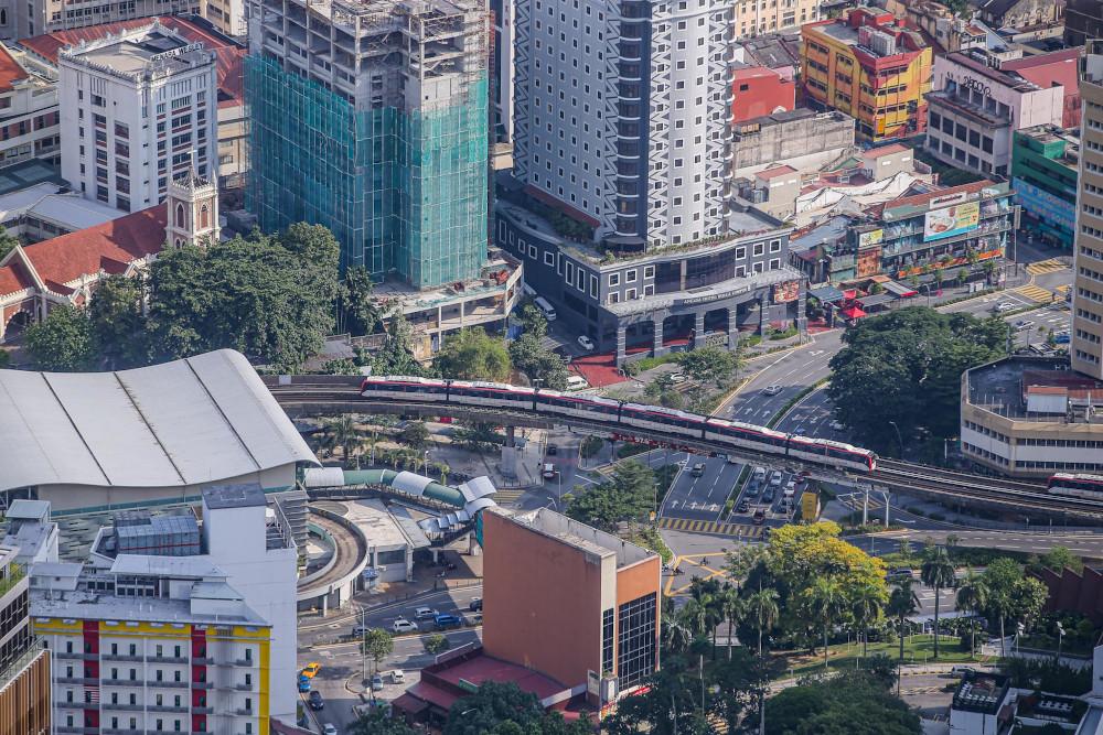 A bird's-eye view of Kuala Lumpur July 8, 2020. — Picture by Hari Anggara
