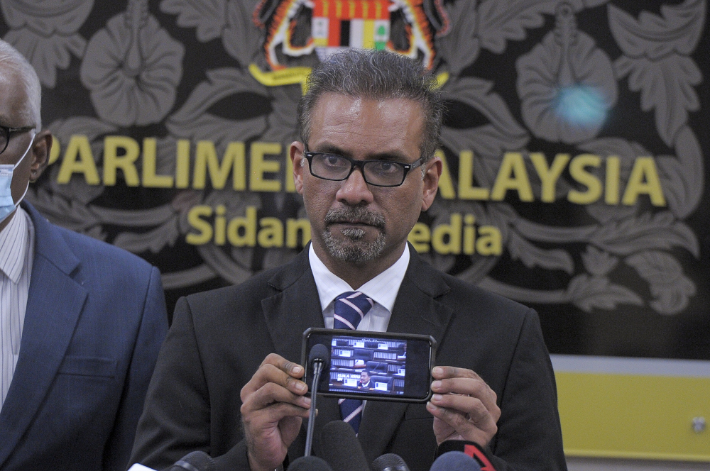 File photo of Bukit Gelugor MP Ramkarpal Singh in Parliament July 22, 2020. — Picture by Shafwan Zaidon