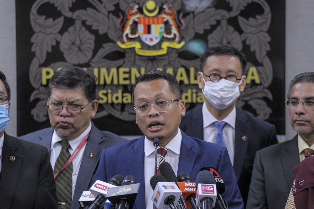 Setiawangsa MP Nik Nazmi Nik Ahmad speaks during a press conference in Parliament July 22, 2020. — Picture by Shafwan Zaidon