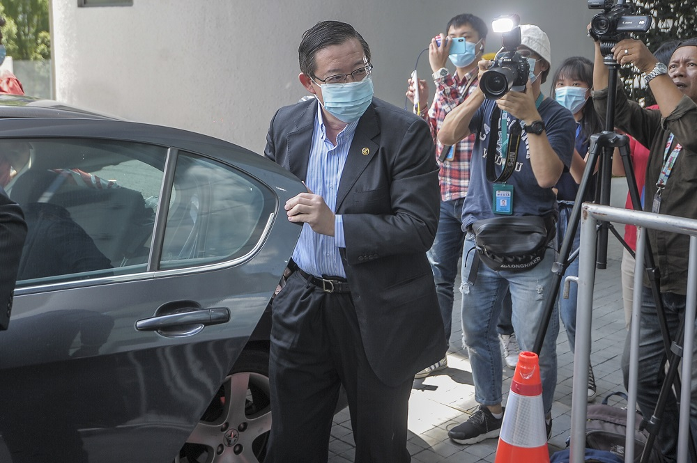 Former finance minister Lim Guan Eng arrives at the MACC headquarters in Putrajaya July 25, 2020. — Picture by Shafwan Zaidon