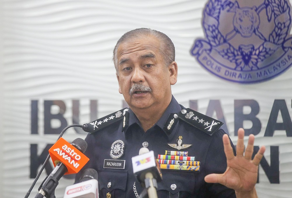 Perak police chief Datuk Razarudin Husain speaking to the press at the State Police Headquarters in Ipoh July 29, 2020. — Picture by Farhan Najib