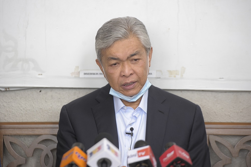 Datuk Seri Ahmad Zahid Hamidi speaks to the media during a press conference at the Kuala Lumpur Court Complex July 30, 2020. ― Picture by Shafwan Zaidon