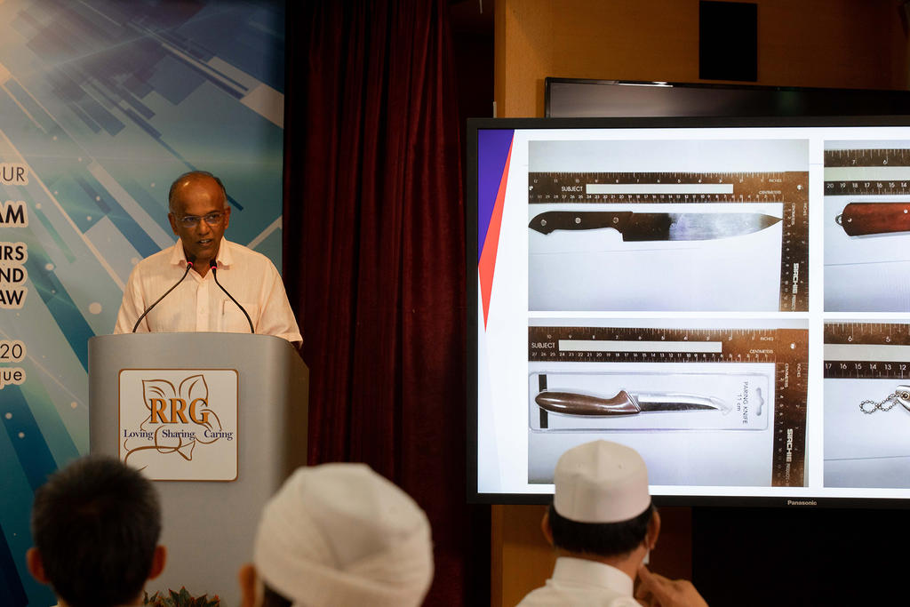 Minister for Home Affairs and Law, K Shanmugam giving a speech during the launch of Religious Rehabilitation Group Resource and Counselling Centre 360° Virtual Tour at Khadijah Mosque on Nov 24, 2020. — TODAY pic