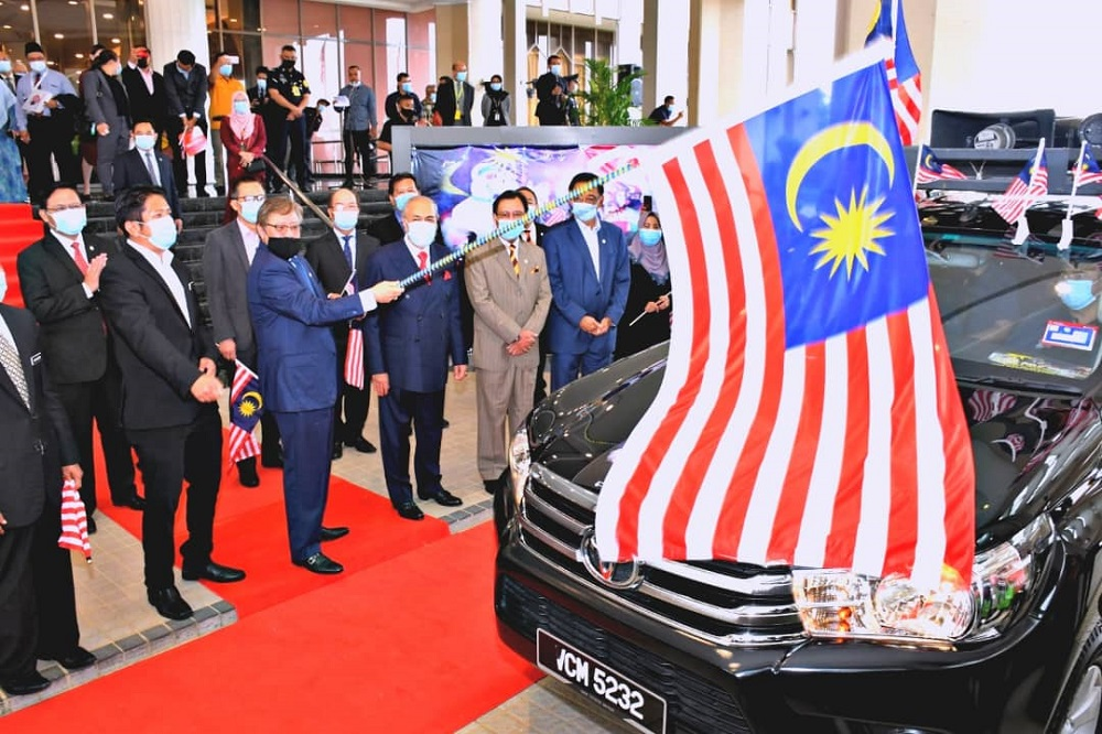 Chief Minister Datuk Patinggi Abang Johari Openg launching the National Month and Fly the Jalur Gemilang 2020 Campaign, July 28, 2020. ― Picture courtesy of the Chief Minister's Office
