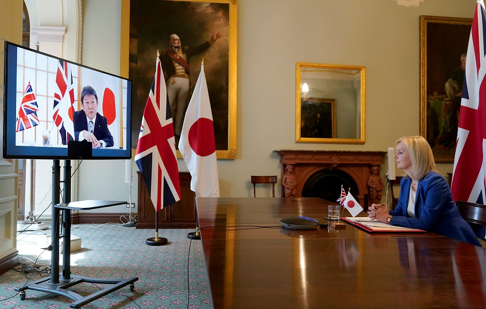 British trade minister Liz Truss attends a joint video conference with Japan's Minister for Foreign Affairs Toshimitsu Motegi at the Department for International Trade, in London June 9, 2020. ― Handout via Reuters