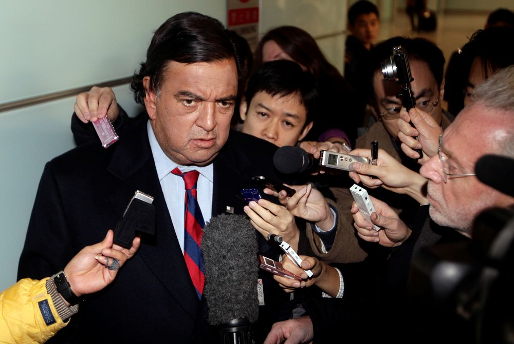 US diplomatic troubleshooter Bill Richardson speaks to the media upon his arrival at Beijing airport from North Korea, in Beijing December 21, 2010. — Reuters pic