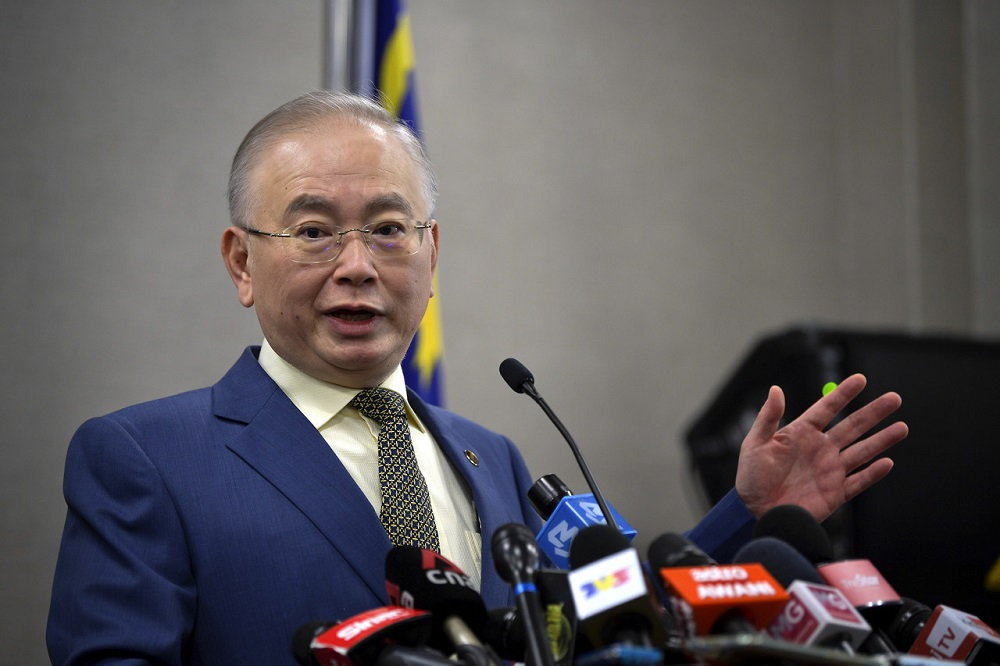 Transport Minister Datuk Seri Wee Ka Siong speaks during a press conference at the Parliament Lobby in Kuala Lumpur July 15, 2020. — Bernama pic