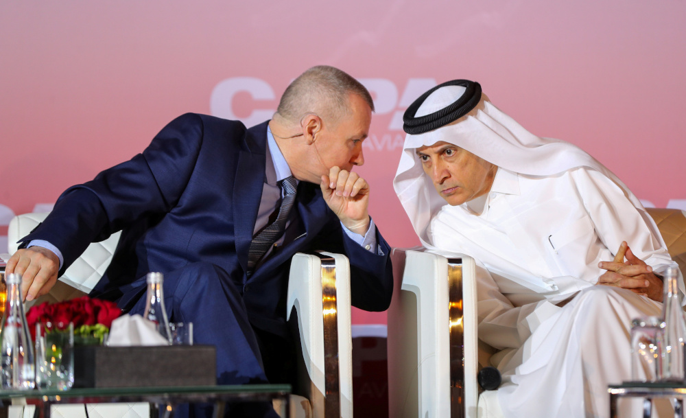 Qatar Airways Chief Executive Akbar Al Baker and International Airlines Group (IAG) counterpart Willie Walsh attend a Qatar aviation conference, in Doha, Qatar, February 5, 2020. — Reuters pic
