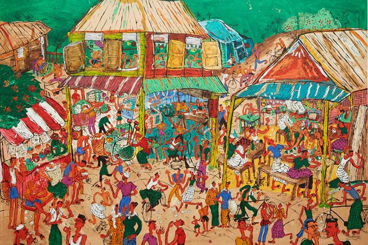 Another of Kide's colourful paintings of small town life: 'Kedai-kedai di Desa'
