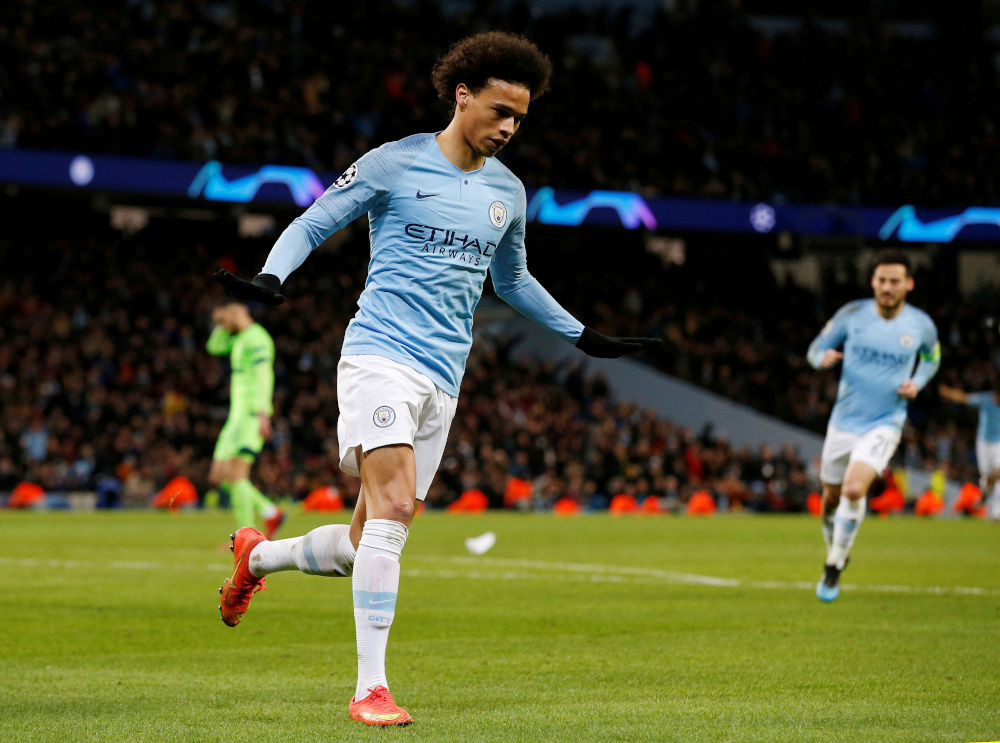 Manchester City's Leroy Sane celebrates scoring their third goal against Schalke 04 at Etihand Stadium in Manchester, March 12, 2019. — Reuters pic