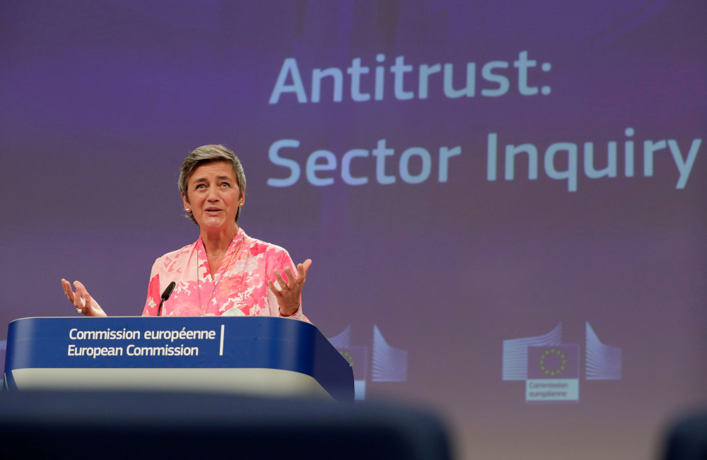 EU executive vice president Margrethe Vestager deplored such practices, which deprive European consumers 'of the opportunity to shop around for the most suitable offer in the EU'. — Reuters pic