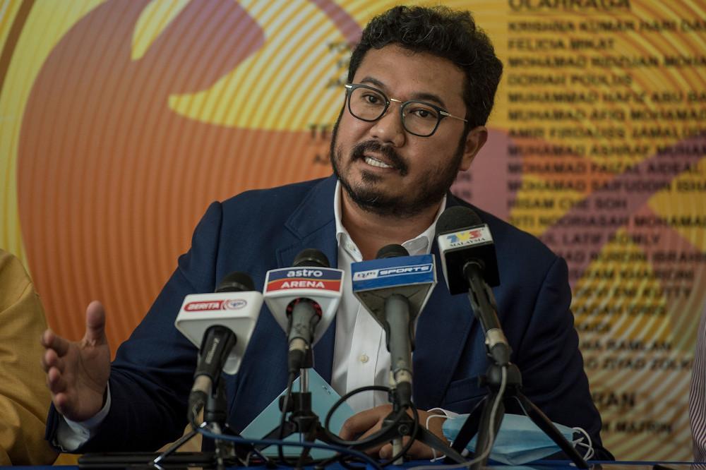 PCM president Datuk Seri Megat D Shahriman Zaharudin speaks to the media after chairing the executive board meeting in Kuala Lumpur July 1, 2020. — Bernama pic