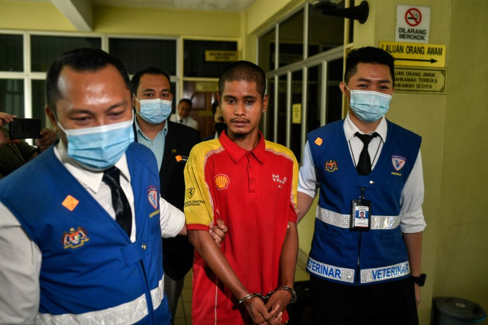 Muhammad Najwan Zulkefli was charged with wantonly or unreasonably causing unnecessary death, pain or suffering to the three cats at a laundry facility in Kepong on June 12, 2020. — Bernama pic