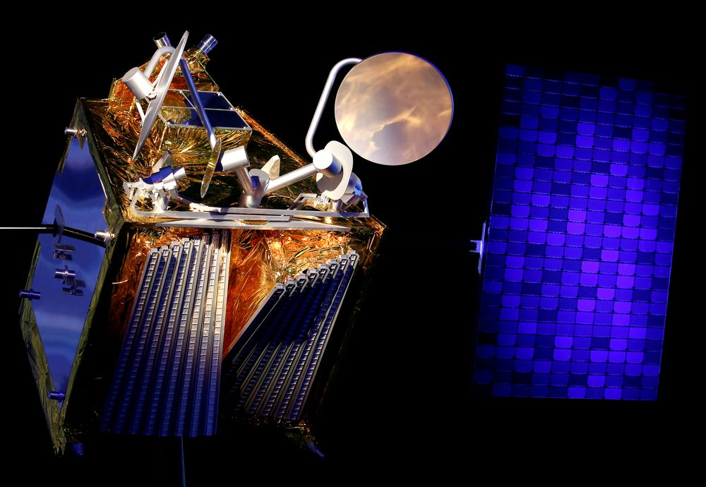 File photo shows a scale model of an Airbus OneWeb satellite and its solar panel are pictured as Airbus announces annual results in Blagnac, near Toulouse, France, February 14, 2019. — Reuters pic