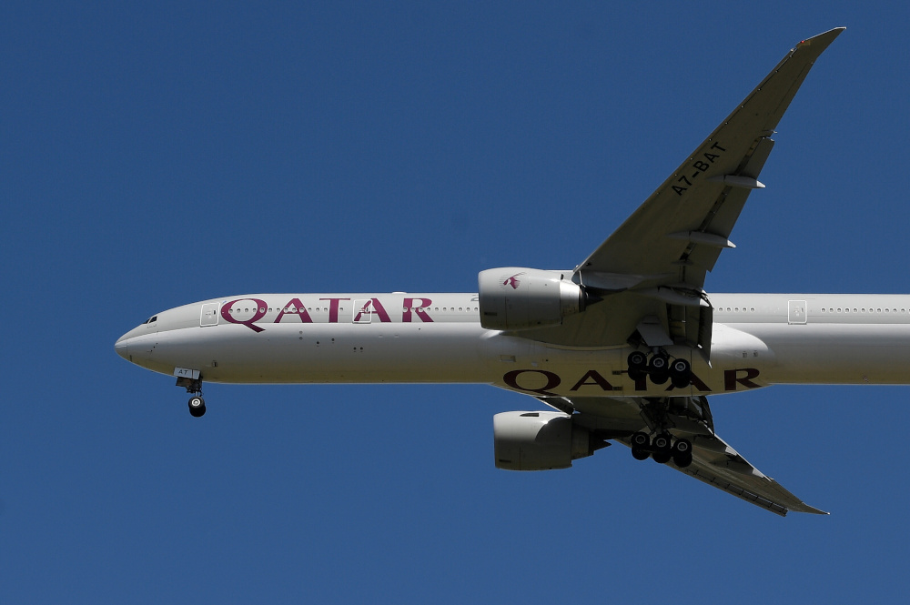 A Qatar Airways passenger plane comes in to land at London Heathrow airport, following the outbreak of the coronavirus disease, London May 21, 2020. — Reuters pic