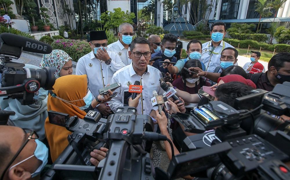Perak Mentri Besar Datuk Seri Ahmad Faizal Azumu speaks to reporters after launching of the state-level 'Bulan Kebangsaan and Kibar Jalur Gemilang' campaign Ipoh July 28, 2020. ― Picture by Farhan Najib