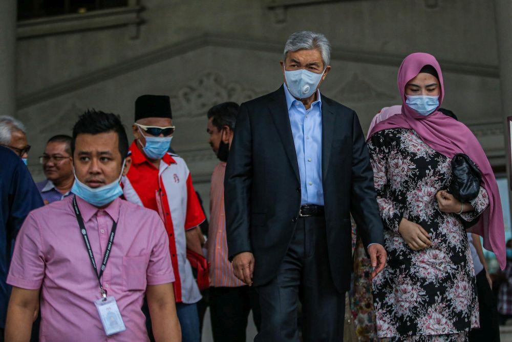 Datuk Seri Ahmad Zahid Hamidi is pictured at Kuala Lumpur Court Complex July 14, 2020. — Picture by Hari Anggara