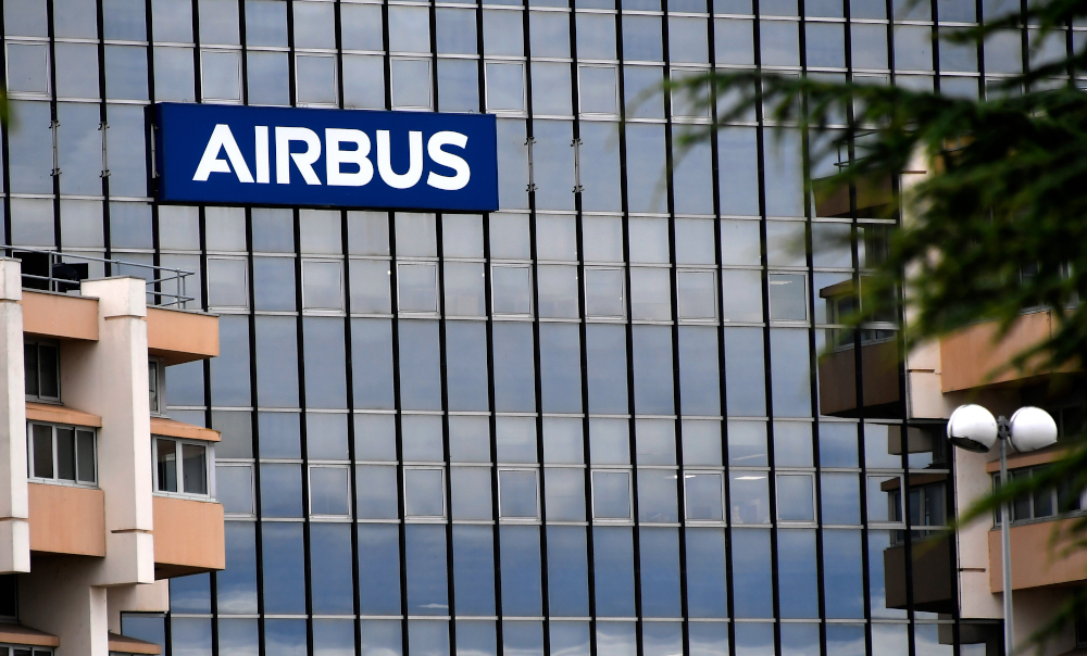 A picture taken July 2, 2020 shows the Airbus logo on the company headquarter's building in Saint-Martin du Touch near Blagnac, in the outskirt of Toulouse. — AFP pic