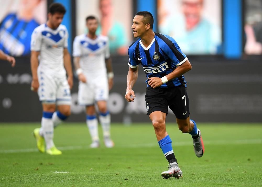 Alexis Sanchez celebrates after scoring the second goal against Brescia July 2, 2020. ― Reuters pic