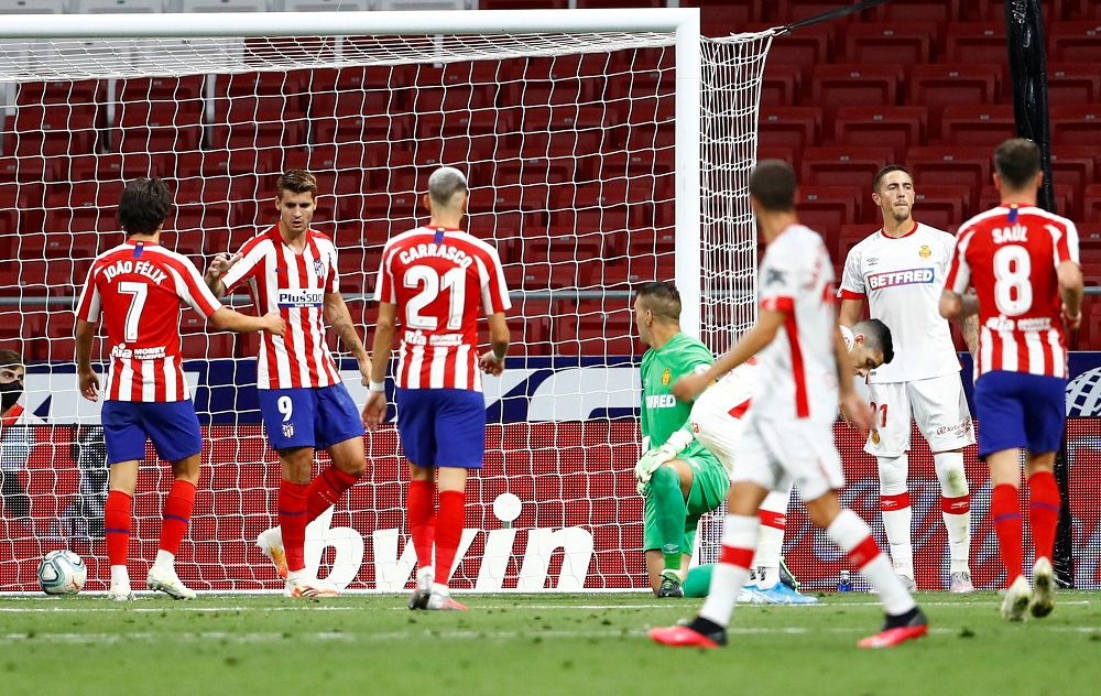 Atletico Madrid's Alvaro Morata celebrates after scoring the second goal against Real Mallorca July 4, 2020. ― Reuters pic
