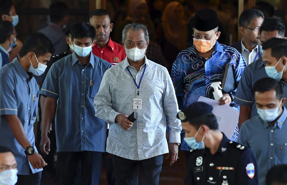 Prime Minister Tan Sri Muhyiddin Yassin left Dewan Seri Endon Puspanitapuri after attending the Pre-Parliamentary Briefing in Putrajaya July 12, 2020. — Bernama pic