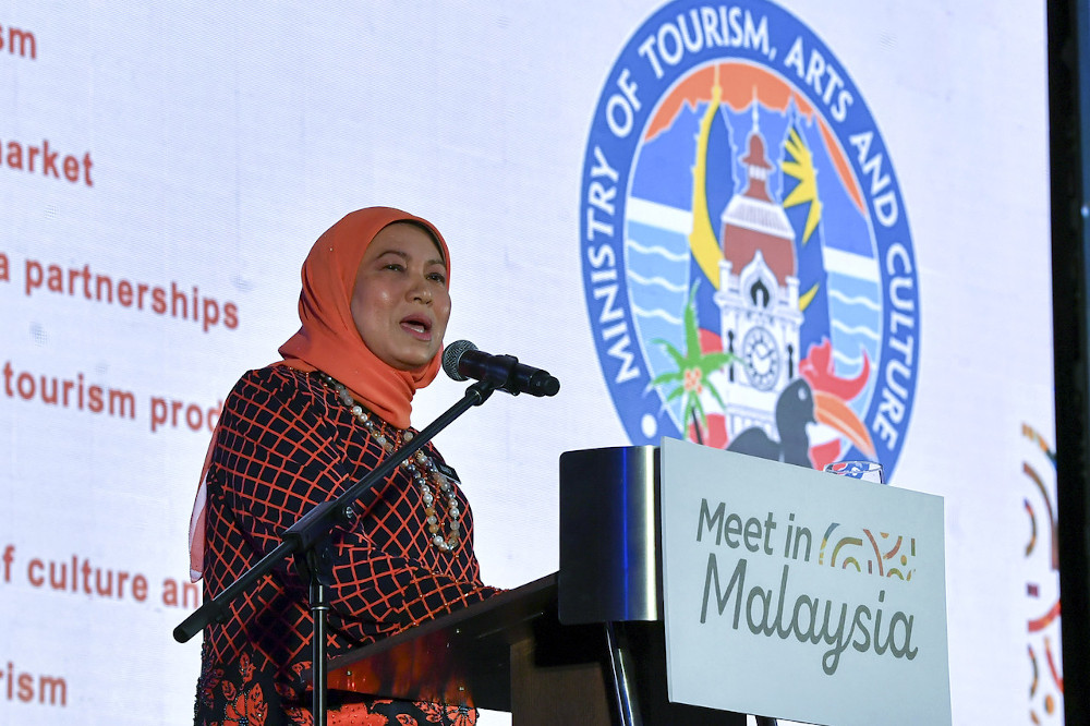 Tourism, Arts and Culture Minister Datuk Seri Nancy Shukri speaks at the launch of the Meet in Malaysia campaign in Putrajaya July 24, 2020. — Bernama pic