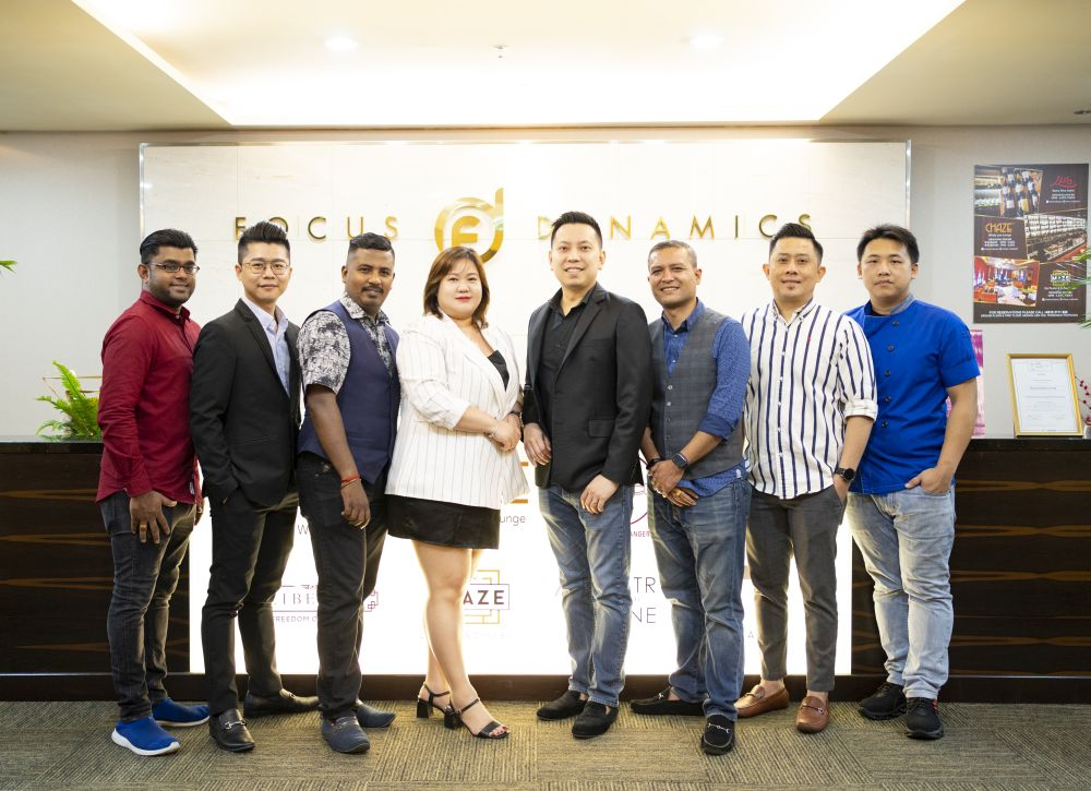 Focus Dynamics Berhad Executive Director Benson Tay (fifth from the left) is betting on cloud kitchens to turn the ACE market listed company's fortunes. — Picture courtesy of Focus Dynamics Berhad