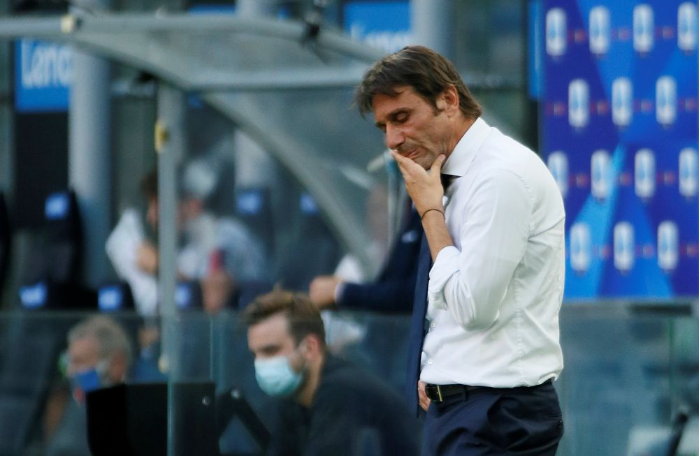 Inter Milan coach Antonio Conte reacts during the game against Bologna at the San Siro, Milan July 5, 2020. — Reuters pic
