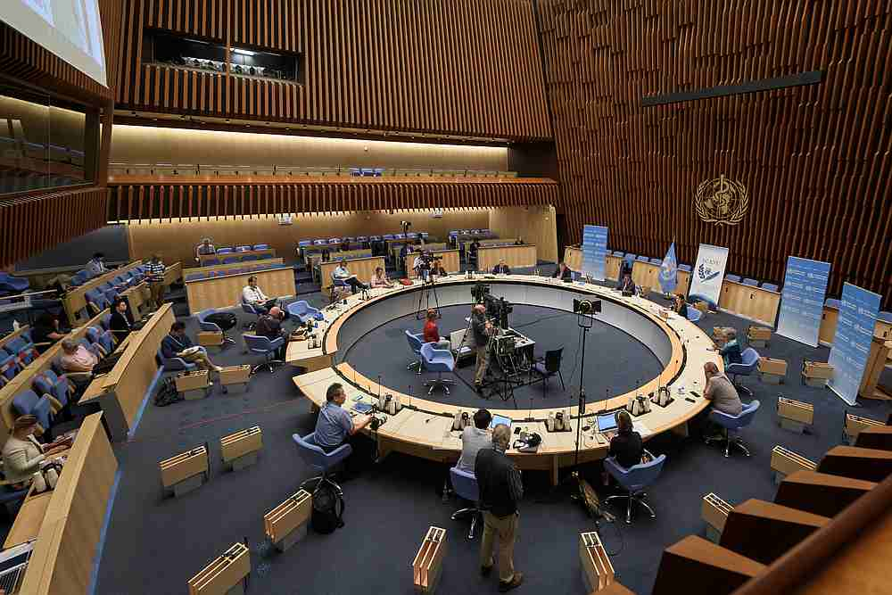General view during a press conference of the World Health Organisation (WHO) amid the Covid-19 outbreak at the WHO headquarters in Geneva, Switzerland July 3, 2020. — Reuters pic