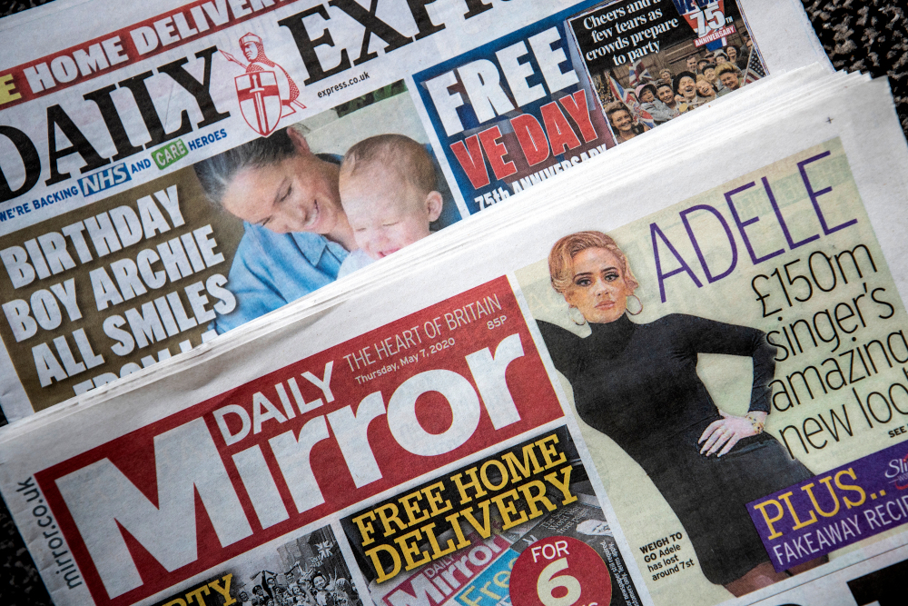 Copies of the 'Daily Express' and 'Daily Mirror' newspapers. The publisher behind the Mirror and Express newspapers has revealed a slump in advertising revenues as companies rein in spending due to the coronavirus outbreak. — PA pic via Reuters