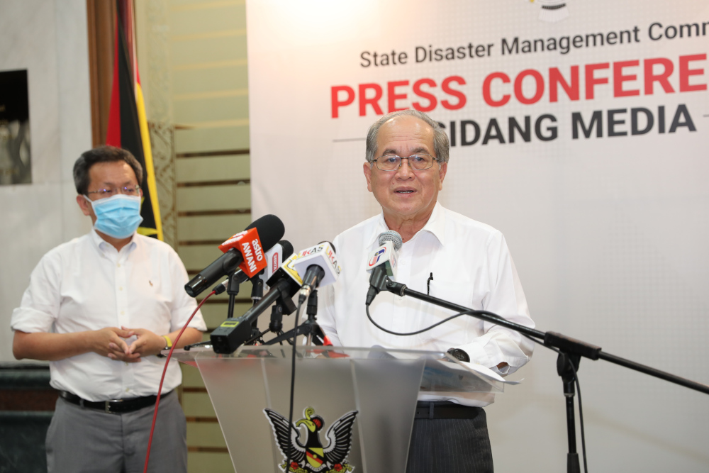 Datuk Amar Douglas Uggah addresses a press conference in Kuching July 17, 2020. — Picture courtesy of Sarawak Public Communication Unit