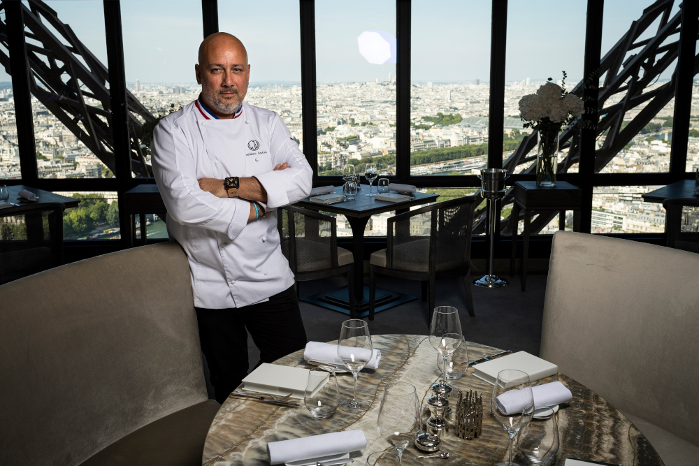 In this file photo taken July 15, 2019 starred French chef Frederic Anton poses during a photo session at the Le Jules Verne restaurant at the Effeil Tower in Paris. — AFP pic