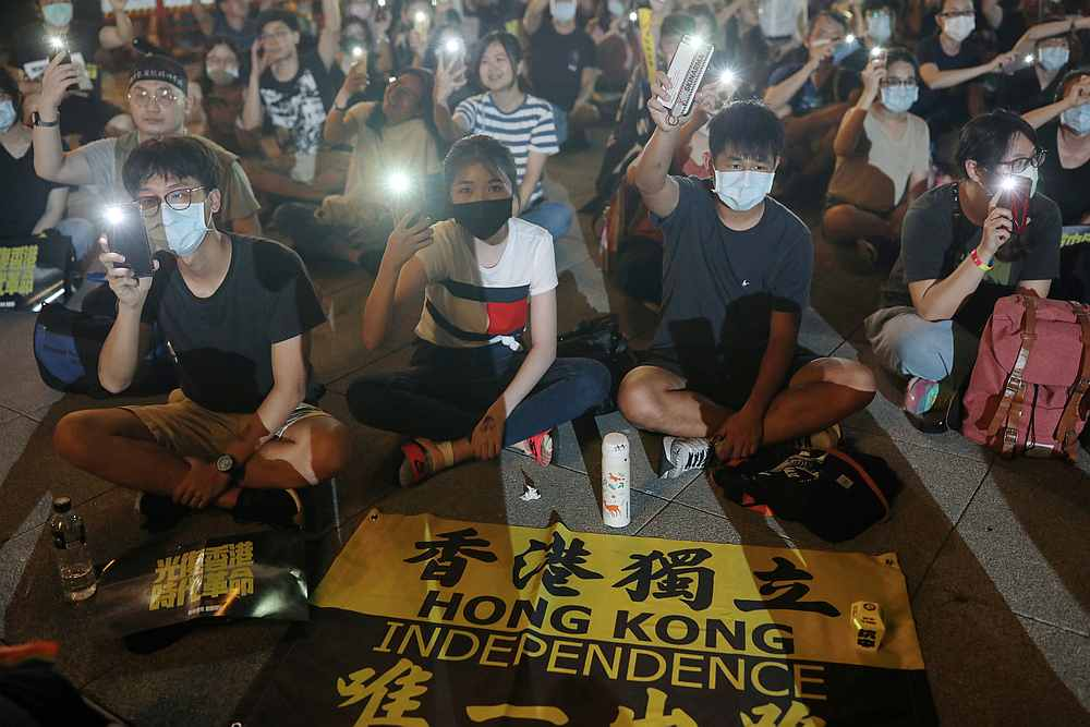 Supporters of Hong Kong anti-government movement gather at Liberty Square, to mark the one-year anniversary of the start of the protests in Hong Kong, in Taipei, Taiwan June 13, 2020. — Reuters pic