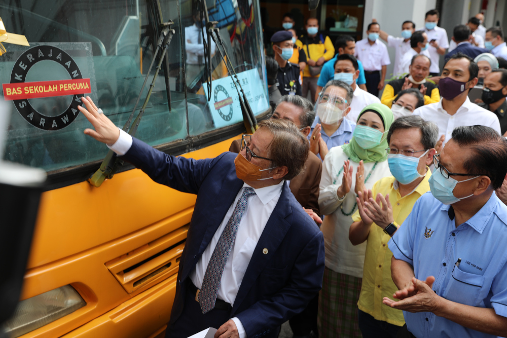 Chief Minister Datuk Patinggi Abang Johari Openg launching the free bus service which will benefit about 3000 students from 32 schools in Kuching and Padawan districts, July 15, 2020. — Picture courtesy of Sarawak Public Communications Unit (Ukas).