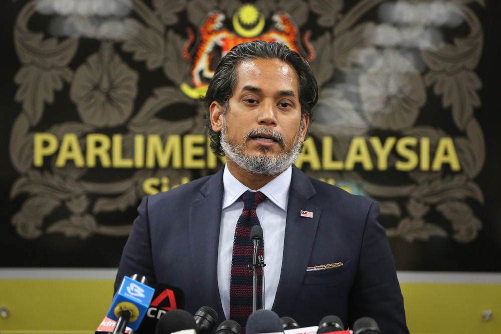 Science, Technology and Innovation Minister Khairy Jamaluddin speaks during a press conference at Parliament in Kuala Lumpur July 14, 2020. — Picture by Yusof Mat Isa