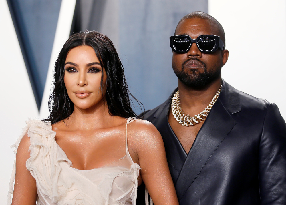 Kim Kardashian and Kanye West attend the Vanity Fair Oscar party in Beverly Hills during the 92nd Academy Awards, in Los Angeles, California, US, February 9, 2020. — Reuters pic