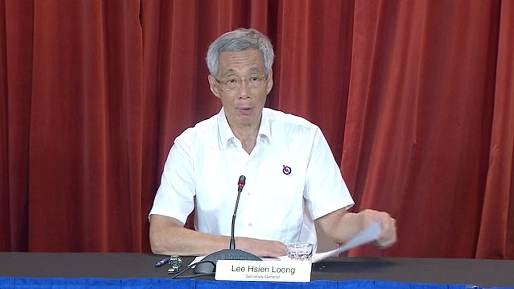 Singapore's Prime Minister Lee Hsien Loong speaks at a virtual press conference following the general elections in Singapore July 11, 2020. — People's Action Party video image via Reuters