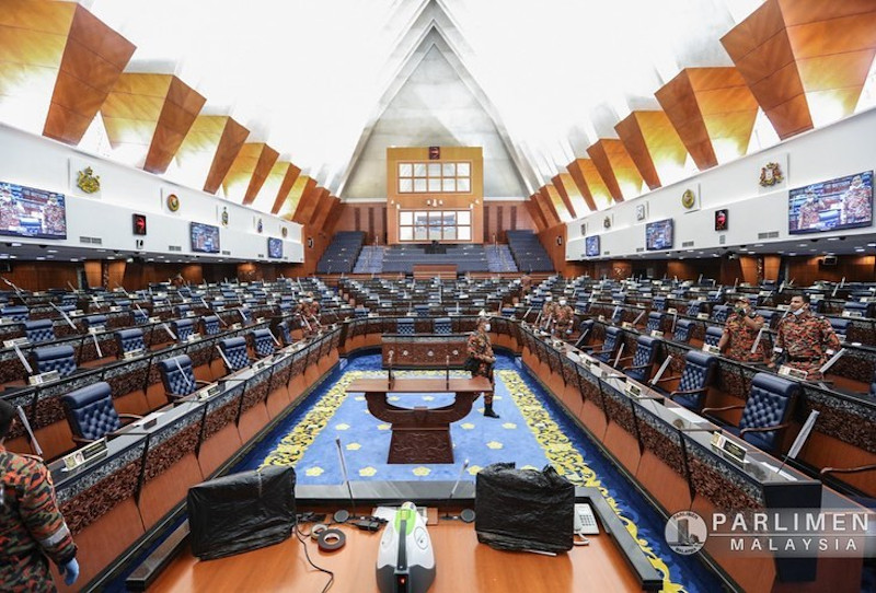 Hazardous Materials Unit (Hazmat) of the Kuala Lumpur Fire and Rescue Department conducts a sanitation operation at the Parliament building in Kuala Lumpur July 12, 2020. — Picture via Facebook/Parlimen Malaysia