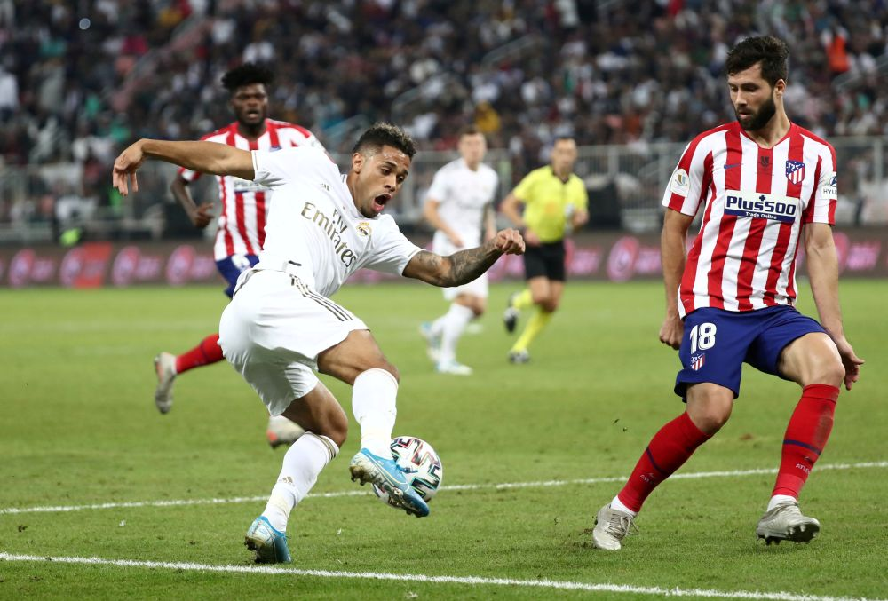 Atletico Madrid's Felipe in action with Real Madrid's Mariano Diaz (left) during the Spanish Super Cup final at King Abdullah Sports City, Jeddah, Saudi Arabia January 12, 2020. ― Reuters pic