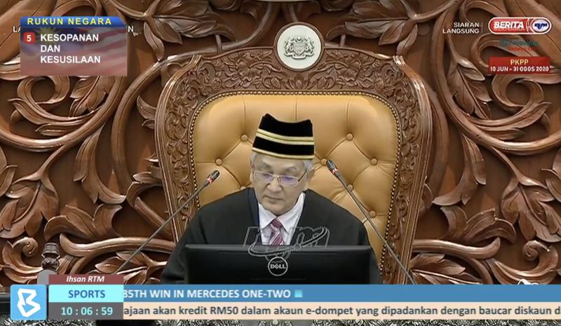 Speaker Tan Sri Mohamad Ariff Md Yusof presides over the House as the Dewan Rakyat sitting got underway this morning. — Twitter screencap