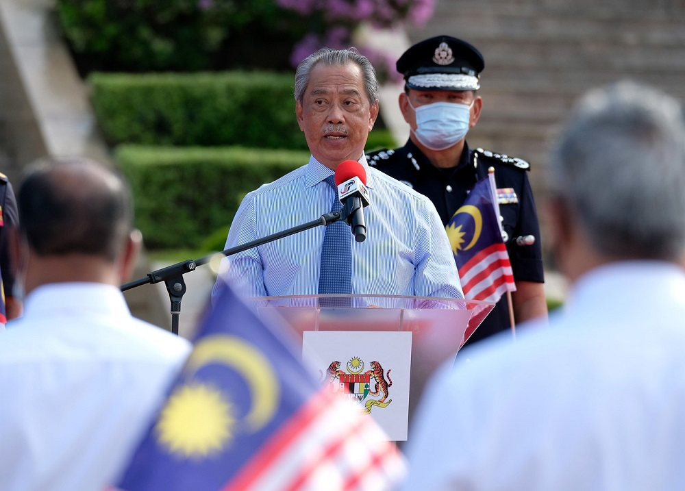 Prime Minister Tan Sri Muhyiddin Yassin speaks during the launch of the National Month and Fly the Jalur Gemilang 2020 Campaign at Dataran Perdana in Putrajaya June 28, 2020. ― Bernama pic