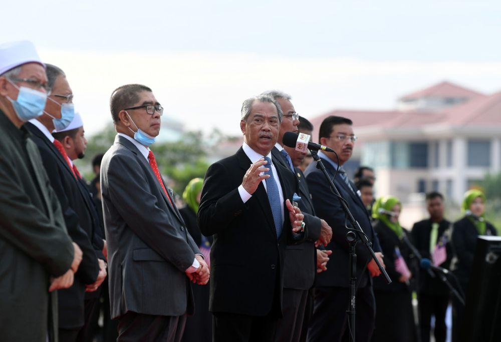 Prime Minister Tan Sri Muhyiddin Yassin addresses staff of the Prime Minister's Department in Putrajaya July 6, 2020. — Bernama pic